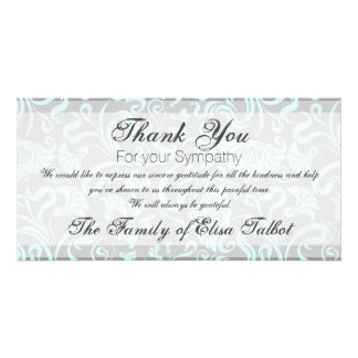Blue Gray Floral Pattern Sympathy Thank You P card Photo Greeting Card