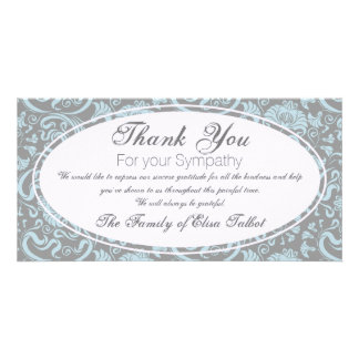 Blue Gray Floral Sympathy Thank You Photo card