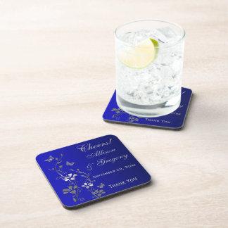 Blue Gray Floral Wedding Coaster Set (6)