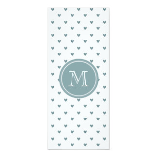 Blue Gray Glitter Hearts with Monogram Card