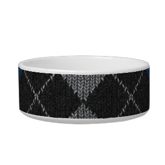 Blue & Gray Knit Argyle Pattern Pet Water Bowls