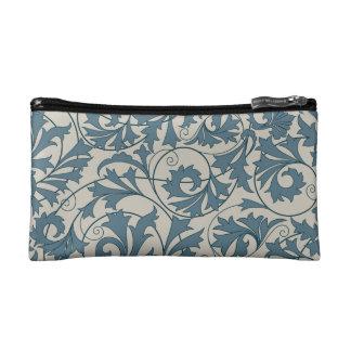 Blue gray lace design makeup bags