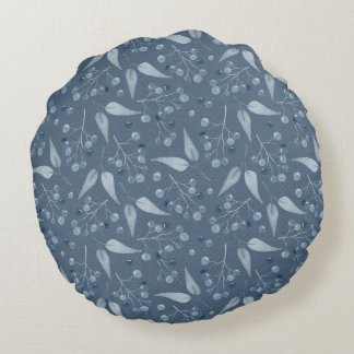 Blue-Gray Leafs & Berries Elegant Monochromatic De Round Pillow