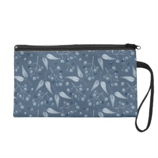 Blue-Gray Leafs & Berries Pattern Wristlet