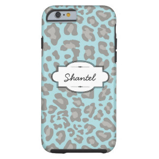 Blue/Gray Leopard Print Custom iPhone 6 Tough Case