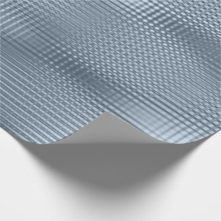 Blue Gray Metallic Grill Stripes Minimal Lux Wrapping Paper