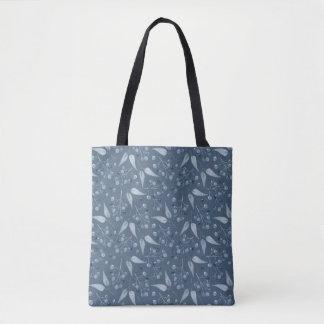 Blue-Gray Monochromatic Leafs & Berries Pattern Tote Bag