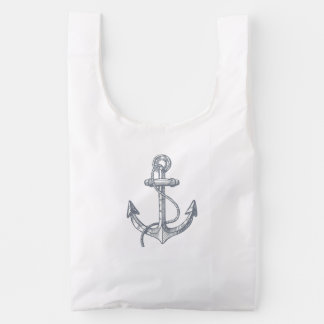 Blue-Gray Nautical Boat Anchor Illustration