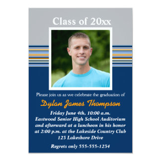Blue, Gray, Orange Photo Graduation Invitation