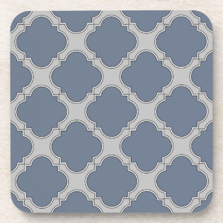 Blue-gray quatrefoil coaster