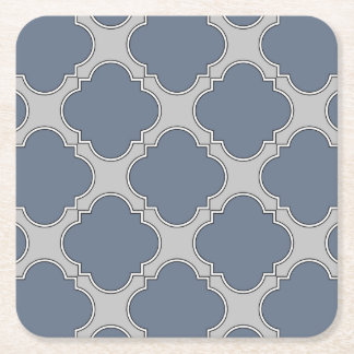 Blue-gray quatrefoil square paper coaster