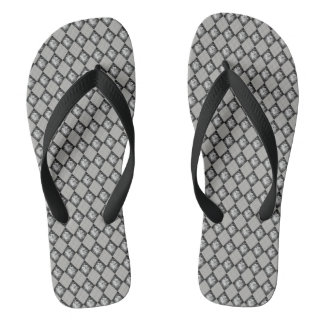 Blue Gray Slate Motif with Black Straps Flip Flops