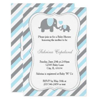 Blue & Gray Stripe Elephant Baby Shower Invitaion Card