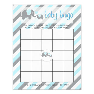 Blue & Gray Stripes Baby Elephant |  Bingo Flyer