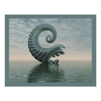Blue-Gray Surrealistic Abstract Water Landscape Poster