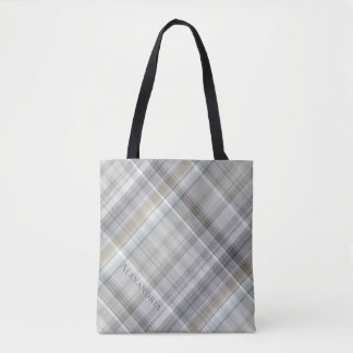 Blue/Gray/Tan Plaid Tote Bag