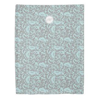 Blue Gray Vintage Floral Pattern Monogram Duvet C
