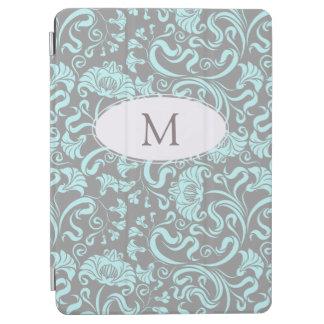 Blue Gray Vintage Floral Pattern Monogram iPad C iPad Air Cover