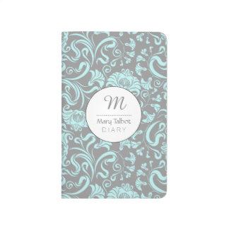 Blue Gray Vintage Floral Pattern Monogram Journal