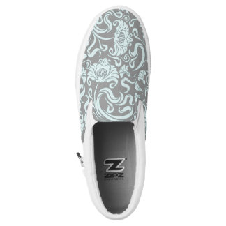 Blue Gray Vintage Floral Pattern Monogram Sl Shoes