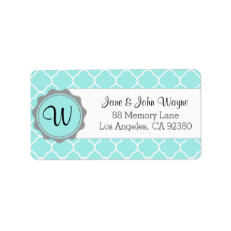 Blue Gray White Quatrefoil Modern Monogram Label 3