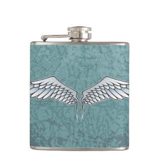 Blue-gray wings hip flask