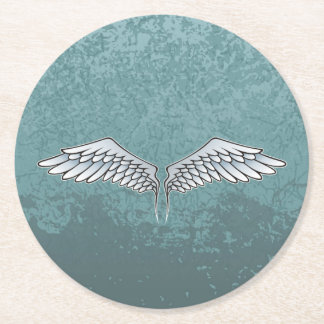Blue-gray wings round paper coaster