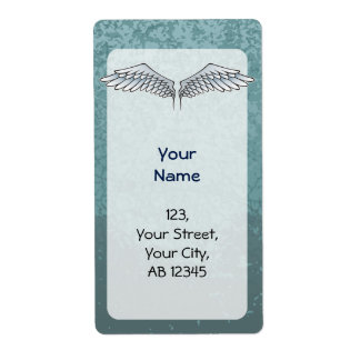 Blue-gray wings shipping label