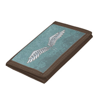 Blue-gray wings trifold wallet