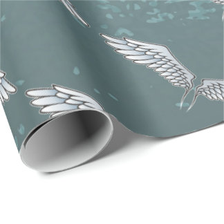 Blue-gray wings wrapping paper