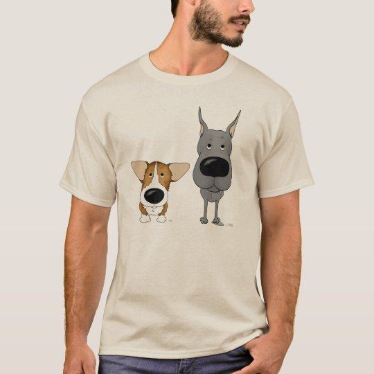 Blue Great Dane and Corgi T-Shirt