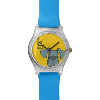 Blue Great Dane Natural Ears - The Dog Table Wrist Watch