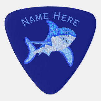 Blue Great White Shark Colorful Sea Animal Guitar Pick