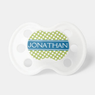 Blue & Gree Polka Dot Pattern for Baby Boy or Girl Pacifier