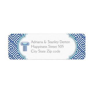 Blue Greek key and column Grecian wedding
