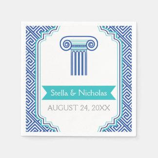 Blue Greek key and column Grecian wedding Paper Napkins