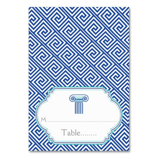 Blue Greek key and column wedding place card