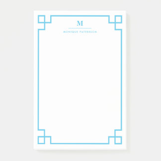 Blue Greek Key Border Monogram Personalized Post-it® Notes