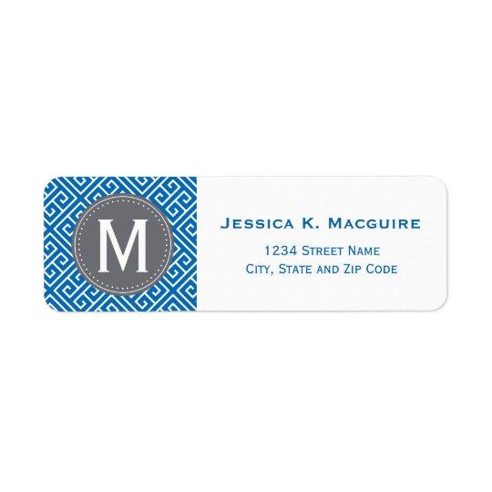 Blue Greek Key Pattern Grey Monogram Frame Return Address Label