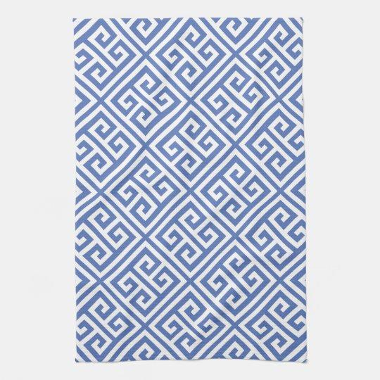 Blue Greek Key Pattern Kitchen Towel