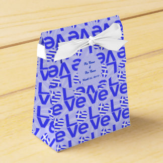 Blue Greek LOVE on Light Blue Squiggly Squares Favor Boxes