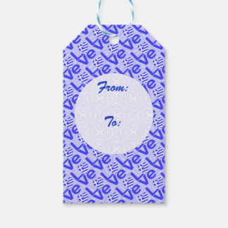 Blue Greek LOVE on Light Blue Squiggly Squares Gift Tags