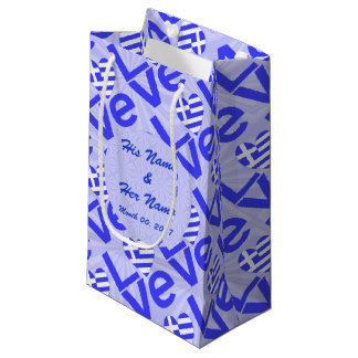 Blue Greek LOVE on Light Blue Squiggly Squares Small Gift Bag