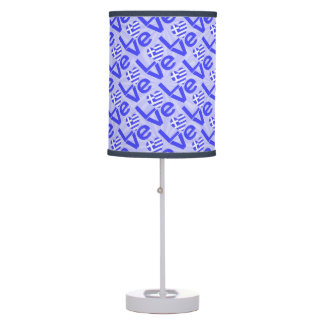 Blue Greek LOVE on Light Blue Squiggly Squares Table Lamp