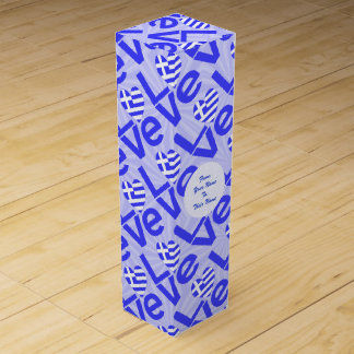 Blue Greek LOVE on Light Blue Squiggly Squares Wine Bottle Boxes