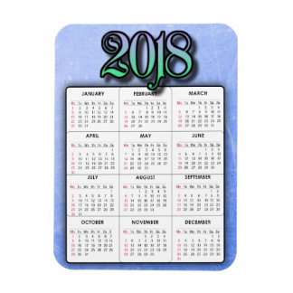 Blue Green 2018 Calendar Refrigerator Magnet