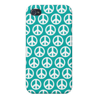 blue green 4G peace symbol iPhone 4 Case