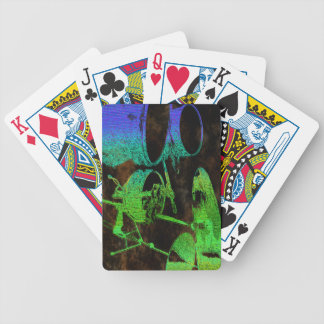 Blue Green Abstract Drums Bicycle Playing Cards
