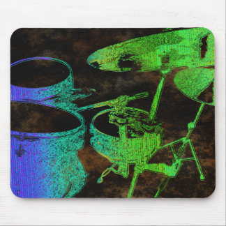 Blue Green Abstract Drums Mouse Pad