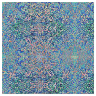 Blue Green Abstract Floral Pattern Fabric